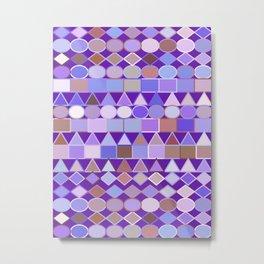 Modern Tribal Geometric, Amethyst Purple and Taupe Metal Print