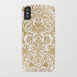Gold foil swirls damask #12 iPhone Case