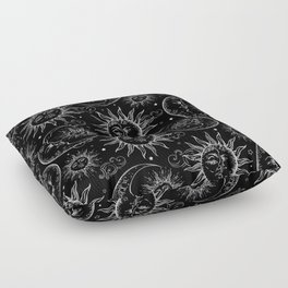 Black Magic Celestial Sun Moon Stars Floor Pillow