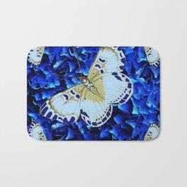 WHITE-PURPLE BUTTERFLIES BLUE MODERN ART Bath Mat