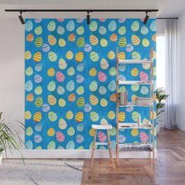 Easter Egg Watercolor Pattern -  Blue Wall Mural