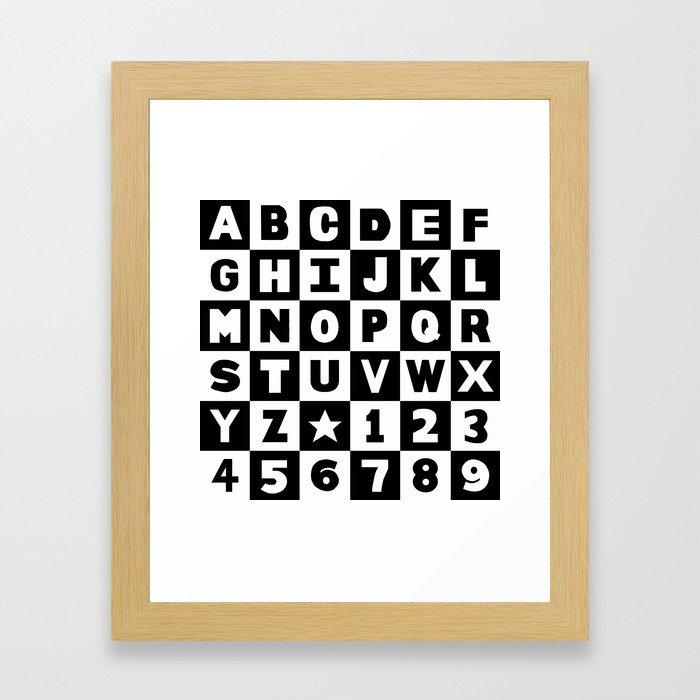 Alphabet Black and White Framed Art Print