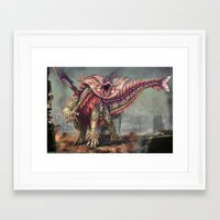 kaiju Framed Art Prints featuring Fringehead Kaiju by Rushelle Kucala Art