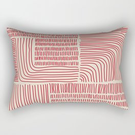 Digital Stitches whole beige + red Rectangular Pillow
