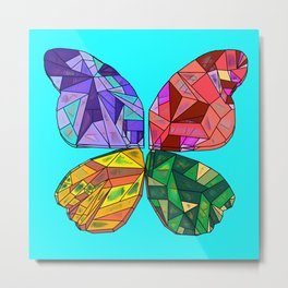Patchwork Crystal Butterfly Metal Print