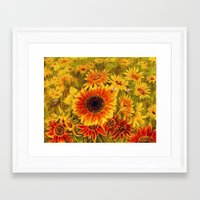 sunflowers Framed Art Prints featuring SUNFLOWERS by Vargamari