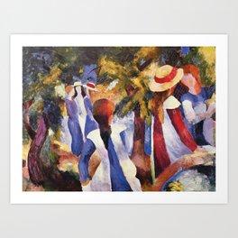 Original plastic placemat August Macke Girls under the trees