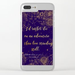 """""""I'd rather die on an adventure than live standing still"""" ADSOM Quote Design Clear iPhone Case"""