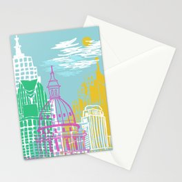 WPA Style Downtown (Detroit) Illustrated Print  Stationery Cards