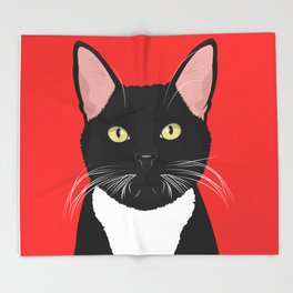 Tuxedo Cat Art Poster by Artist A.Ramos. Designed in Bold Colors. Perfect for Pet Lovers Throw Blanket