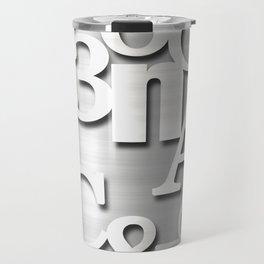 Silver Metallic Letters Numbers & Symbols Typography Travel Mug