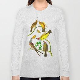 Vintage Scientific Bird Butterfly & Floral Illustration Long Sleeve T-shirt
