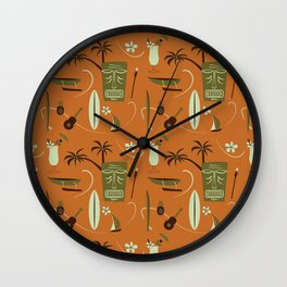Orange Retro Hawaiian Tiki Hawaii Beach Wall Clock