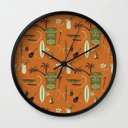 Orange Retro Hawaiian Tiki Hawaii Beach Wall Clock