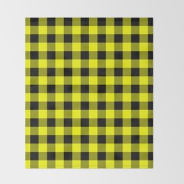 Bright Yellow and Black Lumberjack Buffalo Plaid Fabric Throw Blanket