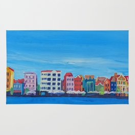 Willemstad Curacao Waterfront in Blue Rug