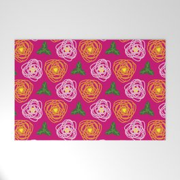 Bright pink floral Welcome Mat