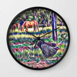 horses and hens in a field Wall Clock