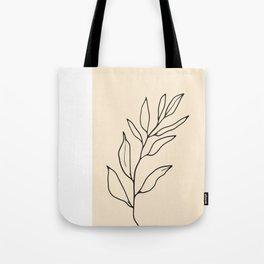 Leaf Minimal Line Art Tote Bag