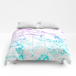 White marble purple blue turquoise ombre watercolor mermaid pattern Comforters
