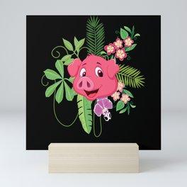 Funny Kids Cartoon Pig Flowers Sow Motif Mini Art Print