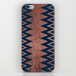 Navy blue faux rose gold watercolor geometric chevron iPhone Skin