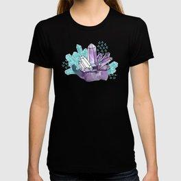 Amethyst Crystal Clusters / Violet and Aqua T-shirt