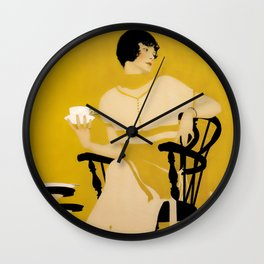 """Coles Phillips 'Fadeaway Girl' Dinnerware Ad """"A Cup Of Tea"""" Wall Clock"""