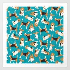beagle scatter blue Art Print
