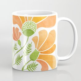 Happy California Poppies / hand drawn flowers Coffee Mug