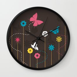 Butterfly and a flower Wall Clock