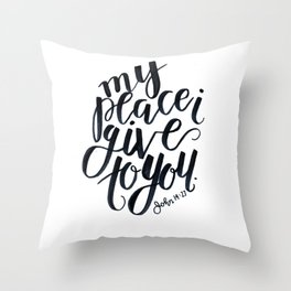 john bible verse calligraphy lettering black and white jesus christian peace Throw Pillow