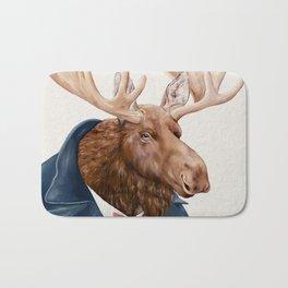 Moose in Navy Blue Bath Mat