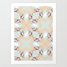 Tea and Cat Pattern Art Print