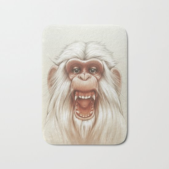 The White Angry Monkey Bath Mat