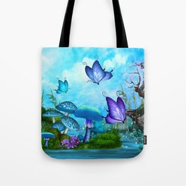 Mystic Whimsey Butterfly Pond Fantasy Tote Bag