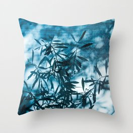Olive tree leaves silhouette summer blue Throw Pillow