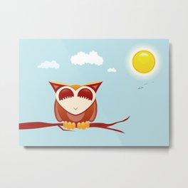 Owl alseep Metal Print