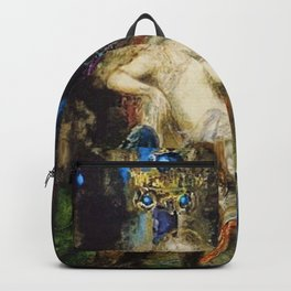 Fairy and Griffon on the Fairy Queen's Woodland Throne by Gustave Moreau Backpack