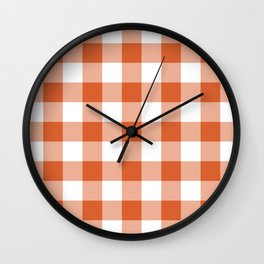 Modern Burnt Orange Gingham Plaid Wall Clock