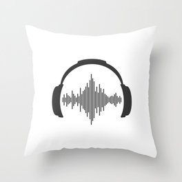 Headphones sound wave beats Throw Pillow