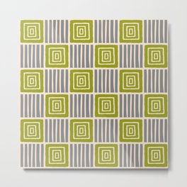 Retro Mid Century Modern Check Pattern 744 Olive and Gray Metal Print