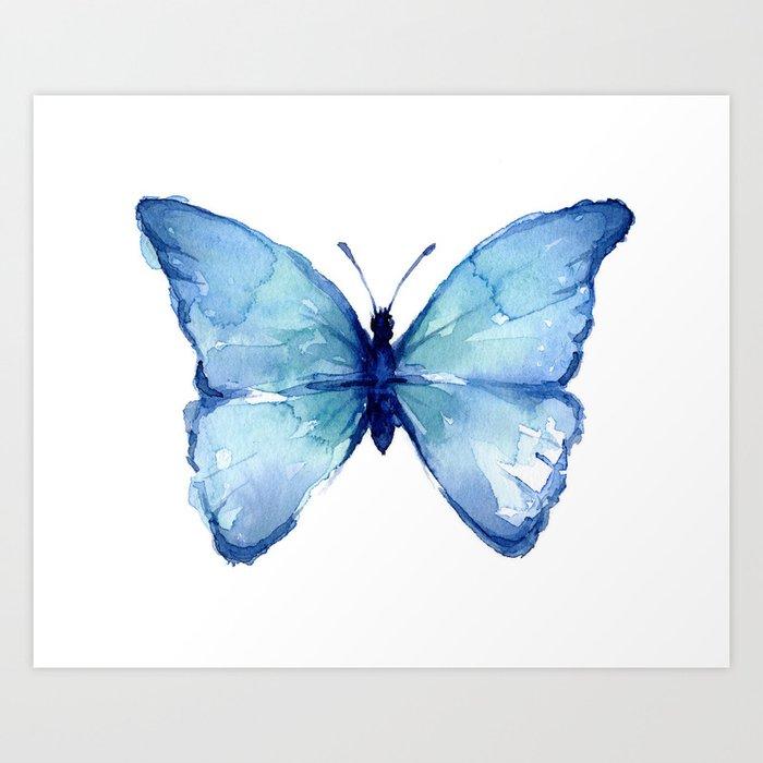 Blue Butterfly Watercolor Kunstdrucke