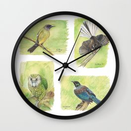 New Zealand Forest Birds Wall Clock