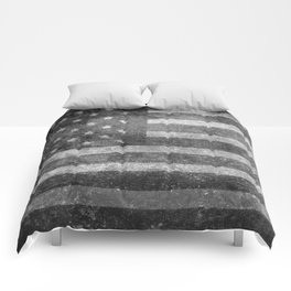 US flag, Old Glory in black & white Comforters