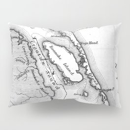 Vintage Map of The Outer Banks (1862) BW Pillow Sham