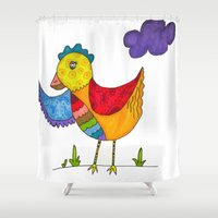 "chicken Shower Curtains featuring ""Chicken""  by Holly Lynn Clark"