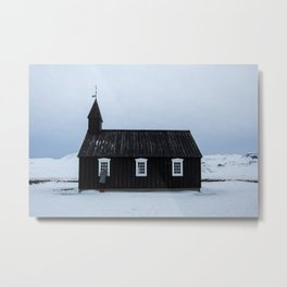 Church in snowy Iceland - Travel photography - winter mood Metal Print