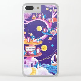 Dream Tree with penguins in a purple starry sky learning how to live their mark Clear iPhone Case