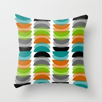 mid century Throw Pillows featuring Mid-Century Modern Geometric by Kippygirl